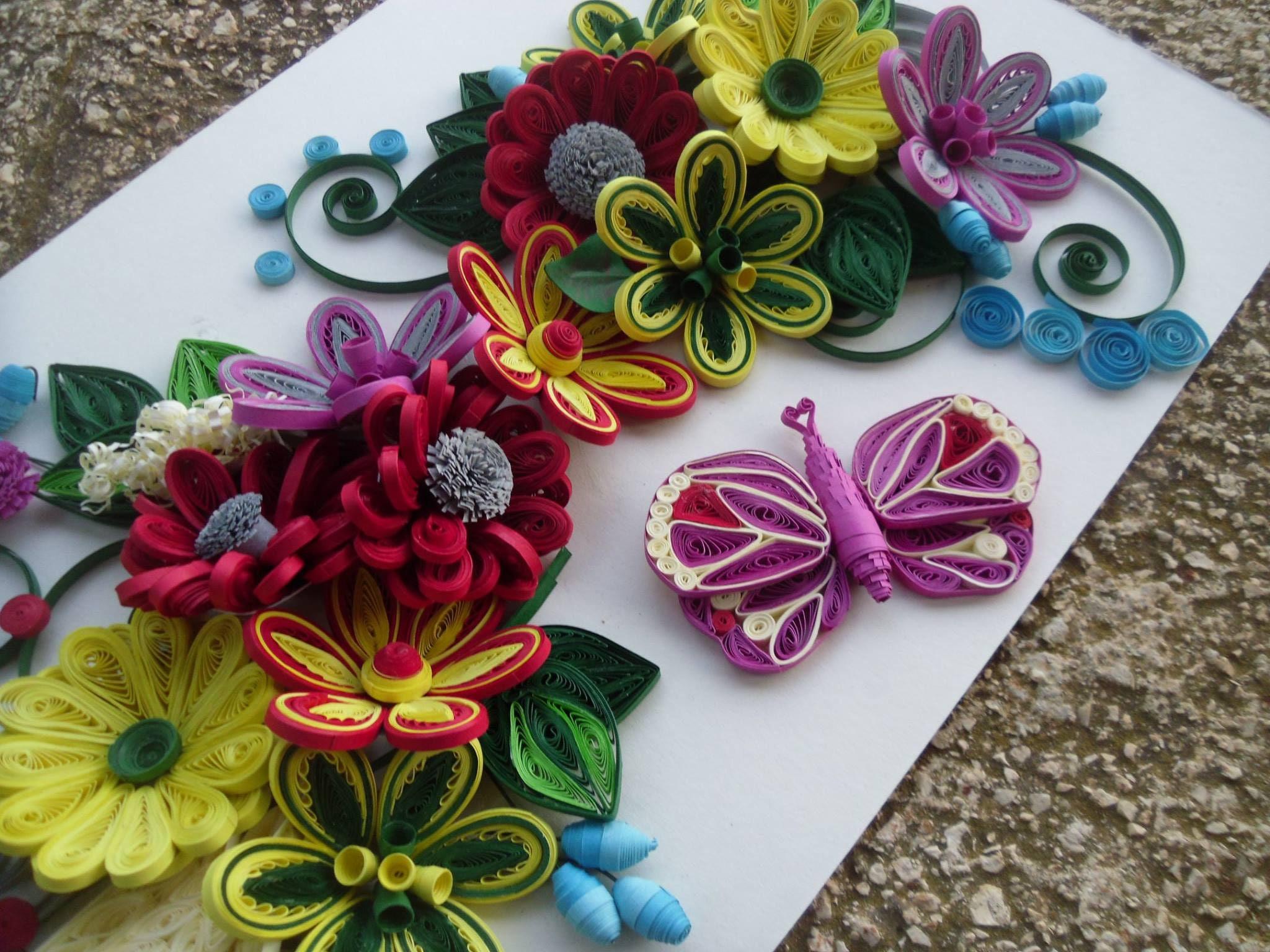 Handmade Paper Flower Wall Art Modern Quilling Floral Art Flower