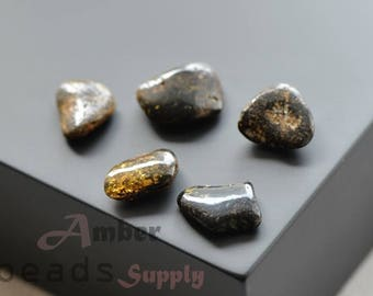 Amber stones, Baltic amber loose beads, 5 units. 0446/7
