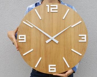 large wall clock rustic oak wall clock natural wood white numbers gloss