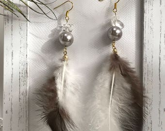 Feather Earrings Brown Feathers  Pearl Crystal