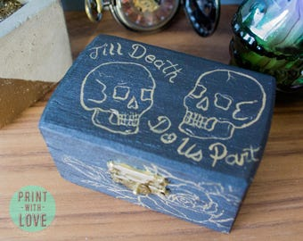 Vintage Tattoo Flash Wedding Engagement Proposal Ring Jewelry Box Till Death Do Us Part Skull Rose Hand Painted Goth Punk FREE Shipping