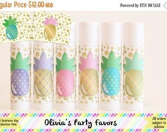 SALE 6 Pineapple Lip Balm Favors - Pineapple Party - Pineapple Theme = Pineapple Gift - Lip Balm
