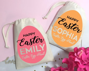 Easter egg hunt gift bag. Cute  Easter egg gift bag. Sweets and treats bag personalised for your little one.
