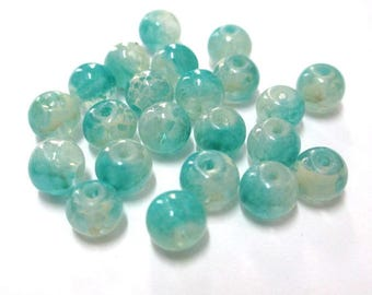 20 transparent beads speckled blue and white 6mm