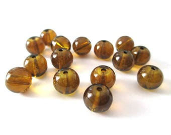 10 Brown transparent glass beads 8mm
