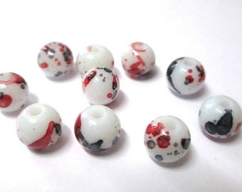 10 white speckled black and dark red glass beads 8mm (H-10)