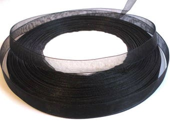 5 m organza Ribbon Black 10mm