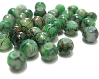 20 green beads, Brown painted glass 4mm (A-11)