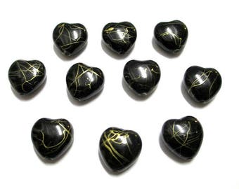 10 heart black, gold 15mm acrylic beads