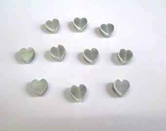 10 gray clear 6mm heart shaped cat eye beads