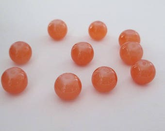 10 orange imitation jade glass 10mm beads