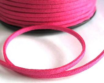 5 m glitter fuchsia suede 3 mm suede cord