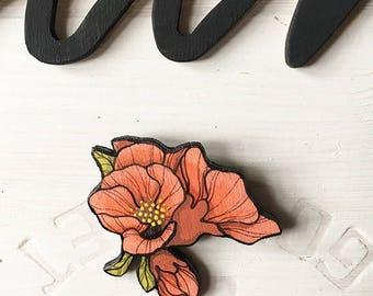 "Wooden brooch ""crabapple"""