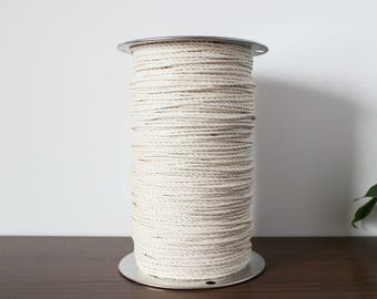 100% Cotton Rope, 4mm, 100 Feet Rope, 3 Strand Rope, High Quality, Macrame Cord, Natural Cotton
