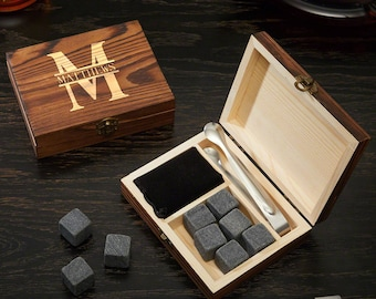 Oakmont Custom Engraved Whiskey Stones Set & Gift Box | Perfect for Executives, Bosses, Groomsmen, Dads, Brothers or Wedding Gifts