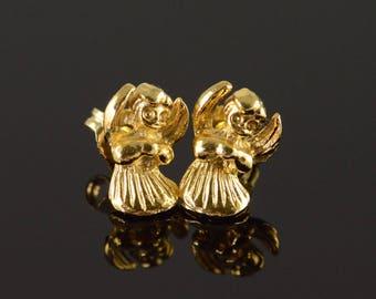 14k Angel Wing Baby Child Cherub Stud Earrings Gold