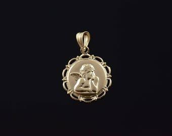 14k Cherub Angel Circle Charm/Pendant Gold