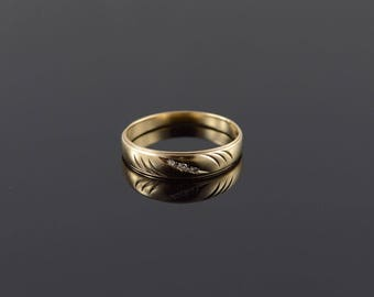 10k Genuine Diamond 3 Stone Inset Wedding Band Ring Gold