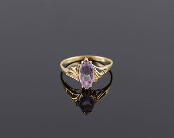 Amethyst* Diamond Marquise Wavy Cut Out Ring Size 9.75 Gold