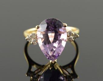 14k 5.15 CTW Amethyst Diamond Tear Drop Ring Gold