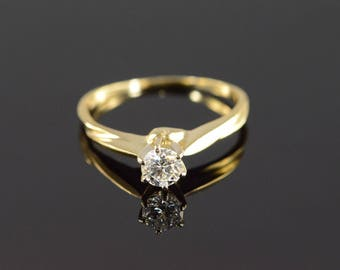 14k 0.28 Ct Solitaire Diamond Engagement Ring Gold