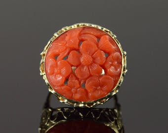 14k Victorian 19mm Carved Coral Ring Gold