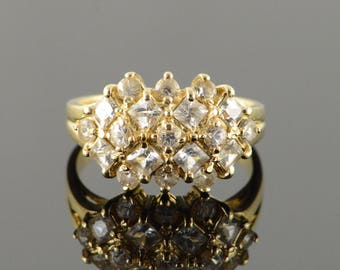 14k 1.50 CTW CZ Cluster Checkered Mound Ring Gold