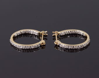 10k Diamond Encrusted Squared Hoop Earrings Gold