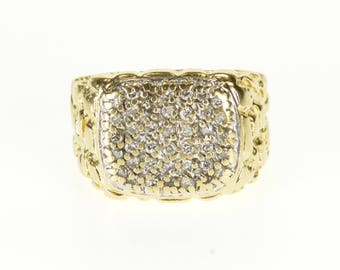 10k 0.75 Ctw Diamond Encrusted Textured Nugget Ring Gold