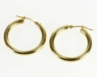 14k Round Simple Tube Hoop Earrings Gold