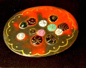 Vintage Pin,Mod Floral  Palette,Red Enamel on Copper,Very Colorful Brooch,Artist Signed Creation, Valentine's Day Gift