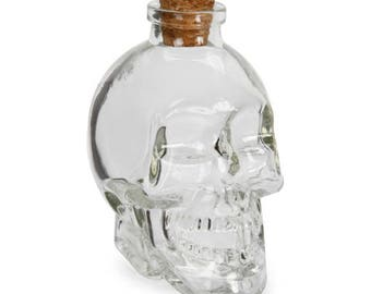 Skull Head Bottle with Cork: Glass - Clear - 100ml - 2 x 3.5 inches     3114-098