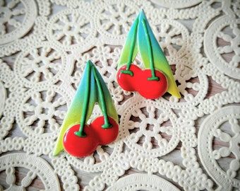 RARE Pisces Signed Cherry Enameled Earrings-Red, Green-All Orders Only .99c Shipping!
