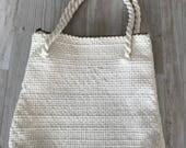 White woven Mountain Dell handbag by The Terry Co / White woven bridal bag / 1970s handbag