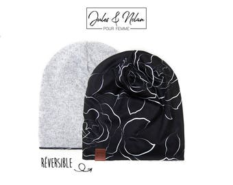 Fall  reversible slouchy beanie- White roses/Grey knit