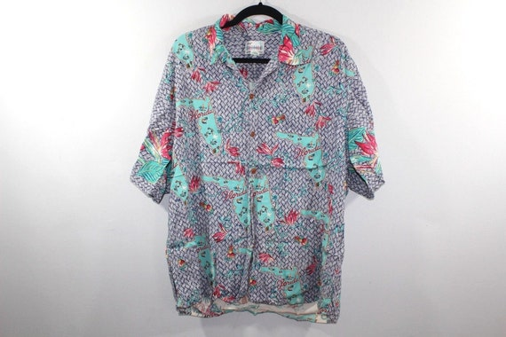 90s Reyn Spooner Florida All Over Print Short Sleeve Hawaiian Button Shirt Mens Large, Vintage Reyn Spooner Shirt, Mens Hawaiian Shirt