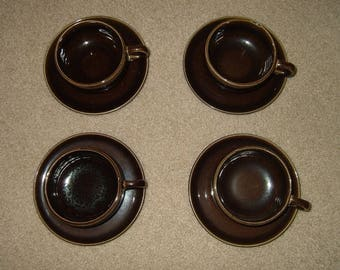 Vintage Pottery Cups & Saucers~SET OF 4!