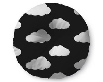 Black and White Clouds - floor pillow