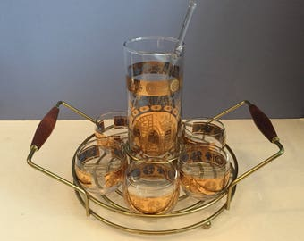 Mid Century Drinking Set/Mid Century Gold Decorated Set of  Roly Poly Cocktail Glasses with Pitcher & Caddy/Serving Tray/Mid Century Barware