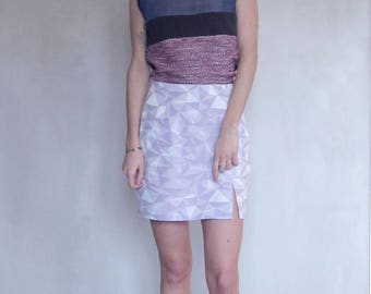 Purple and silver color graphic patterned skirt