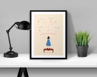 Matilda Illustrated Poster Print | A6 A5 A4 A3
