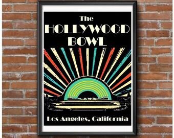 Art Deco Poster – Hollywood Bowl Los Angeles California Concert Venue