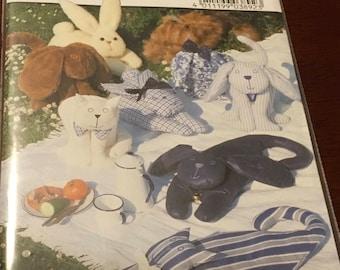 Burda 3892 Sewing Pattern Animal Cushion Pillows Dog Pillow Cat Pillow Bunny Pillow Plush Toys New Uncut FF Sealed