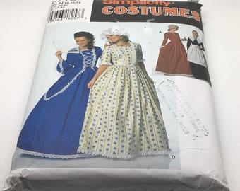 Simplicity Costumes Sewing Pattern 9713 Petite Puritan Centennial 18Th 19th Century Costumes Dress Bonnet Contrast Apron Hat Size 10 12 14