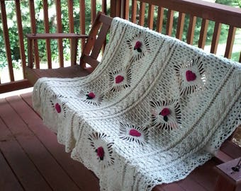"Vintage style crocheted afghan with hearts or roses.   All hearts, all roses or hearts and roses together, 45 "" x 64 """