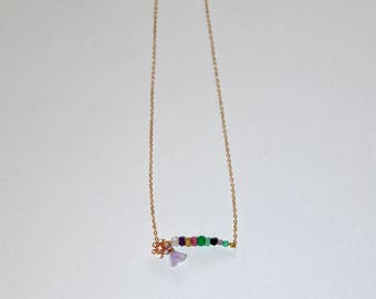 Gold-plated necklace, micro faceted stones, pink gold-plated flower paved Zircons, lavander tassel