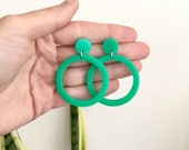 Light Green Circle Hoop Earrings with surgical steel posts