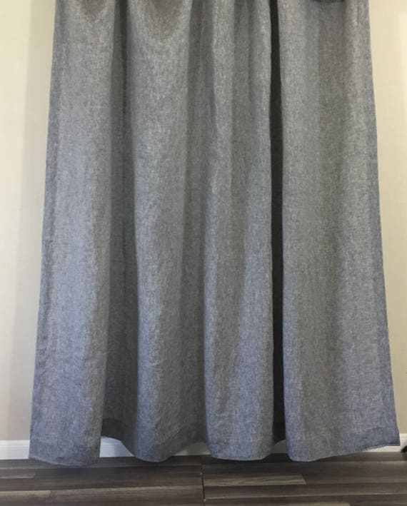 Chambray Grey Linen Shower Curtain Mildew-Free 72x72