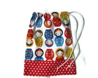 Pocket towel canteen, snack, multicolored red, polka dots, Russian dolls