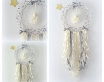 DreamCatcher Bohemian romantic gray ecru, Dreamcatcher Handmade wool and satin bows with tassel